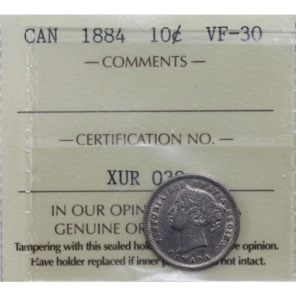 10-cent 1884 ICCS Certified VF-30. *SCARCE KEY DATE*!  A Bright example with trace mint luster still