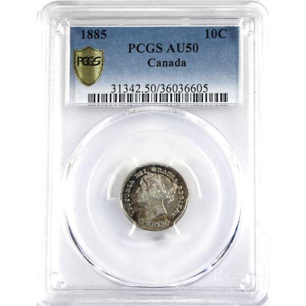 10-cent 1885 Obverse 4 PCGS Certified AU-50.