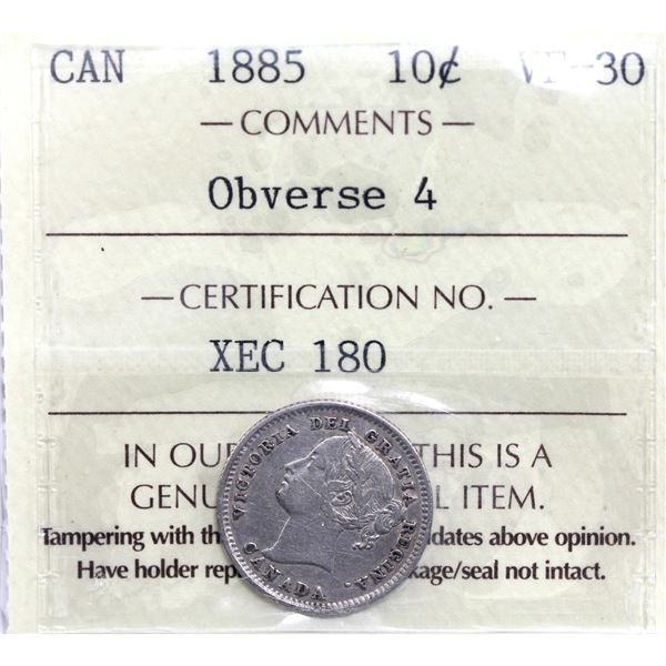 10-cent 1885 Obverse 4 ICCS Certified VF-30.