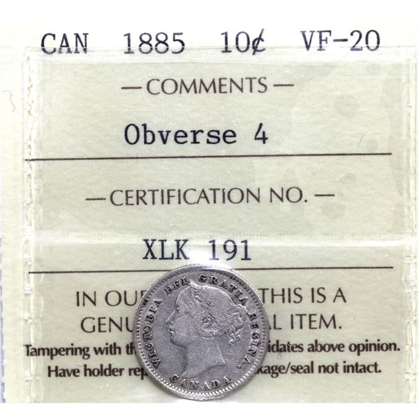 10-cent 1885 Obverse 4 ICCS Certified VF-20.