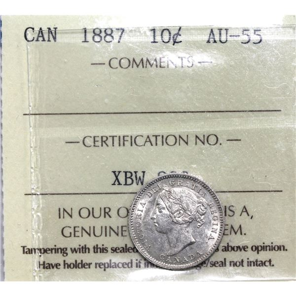 10-cent 1887 ICCS Certified AU-55. A full white coin with exceptional mint luster and great eye appe