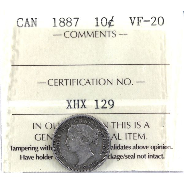 10-cent 1887 ICCS Certified VF-20. *Key Date*