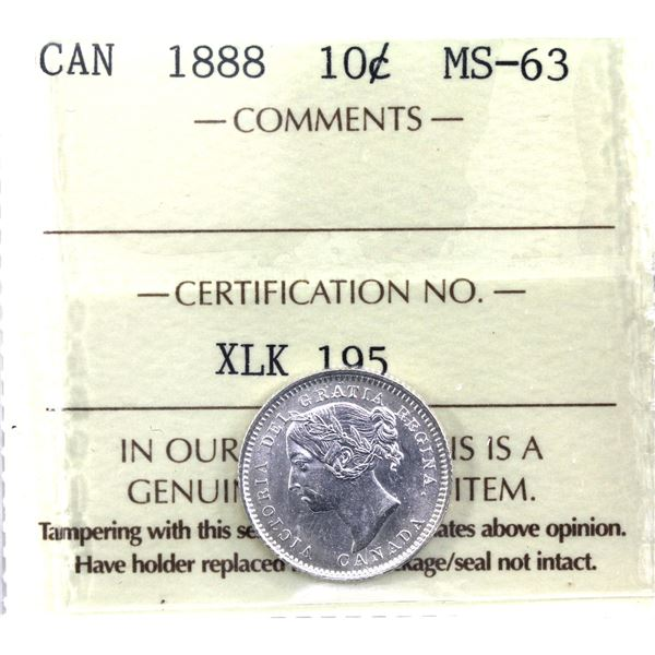 10-cent 1888 ICCS Certified MS-63. A flashy Victorian mint state coin!
