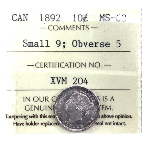 10-cent 1892 Obverse 5, Small 9 ICCS Certified MS-63. Beautiful light toning over radiant lustrous f