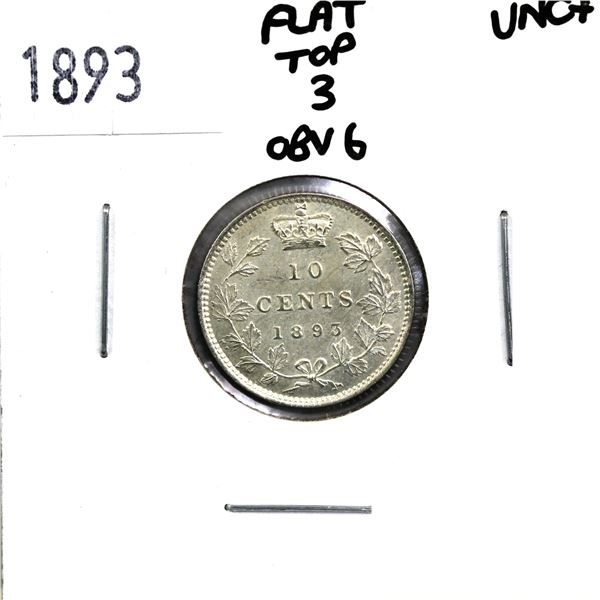 10-cent 1893 Flat Top 3 Obverse 6 in UNC+ Condition.
