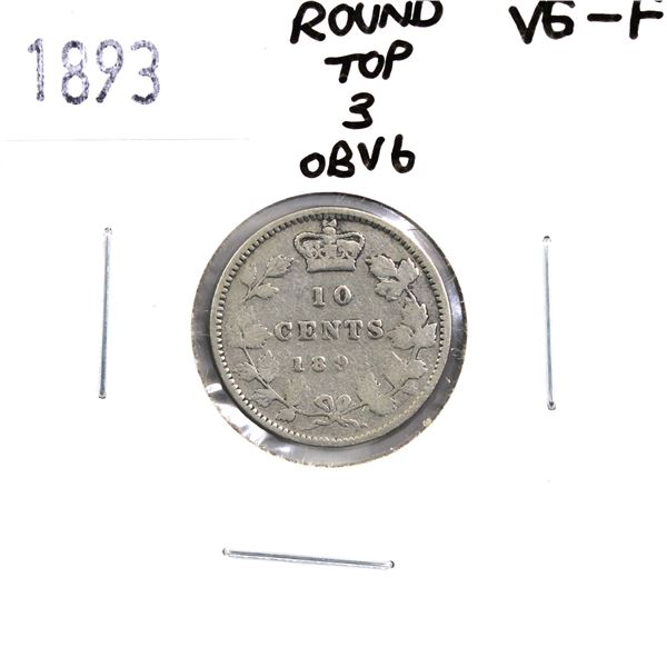10-cent 1893 Round Top 3 Obverse 6 VG-F Condition. *RARE Variety* A problem free coin with natural g