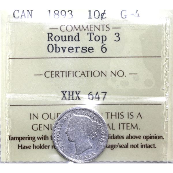 10-cent 1893 Round Top 3 Obverse 6 ICCS Certified G-4. Key variety of this year!