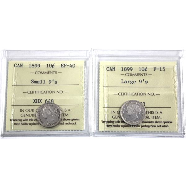10-cent 1899 Large 9's ICCS Certified F-15 & 1899 Small 9's ICCS EF-40. 2pcs