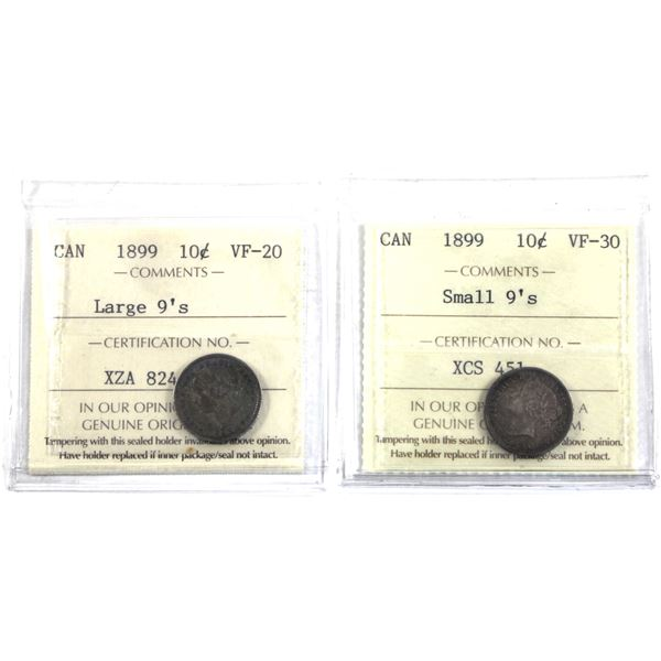 10-cent 1899 Large 9's ICCS Certified VF-20 & 1899 Small 9's ICCS VF-30. A Nice complimentary pair o