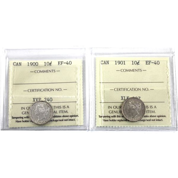 10-cent 1900 & 1901 ICCS Certified EF-40. 2pcs