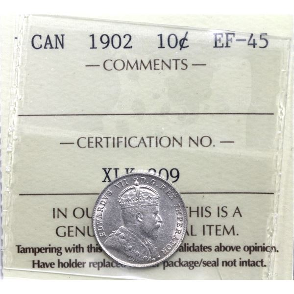 10-cent 1902 ICCS Certified EF-45.