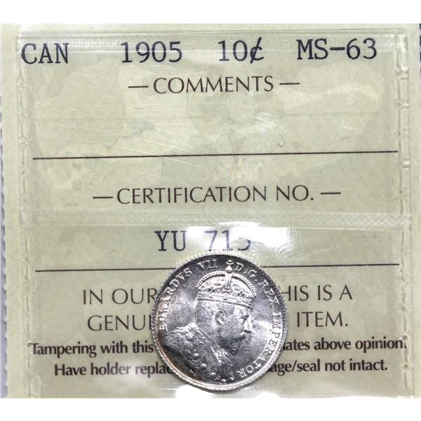 10-cent 1905 ICCS Certified MS-63. Frosted white fields accented by light edge toning makes this coi