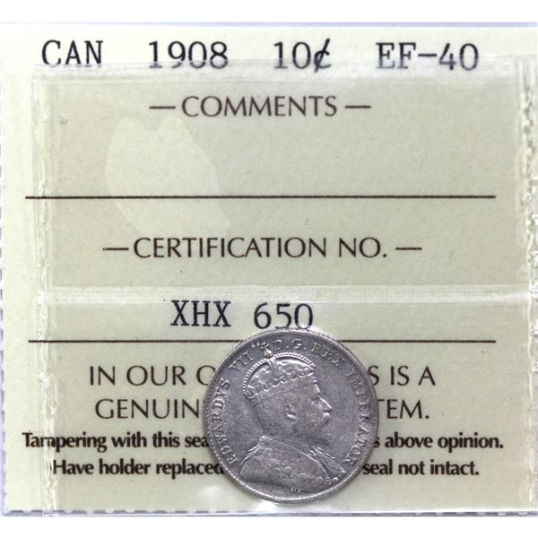 10-cent 1908 ICCS Certified EF-40.