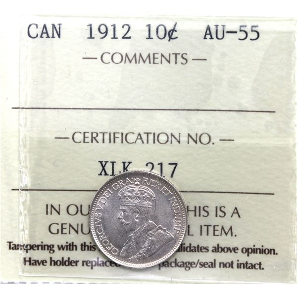 10-cent 1912 ICCS Certified AU-55.