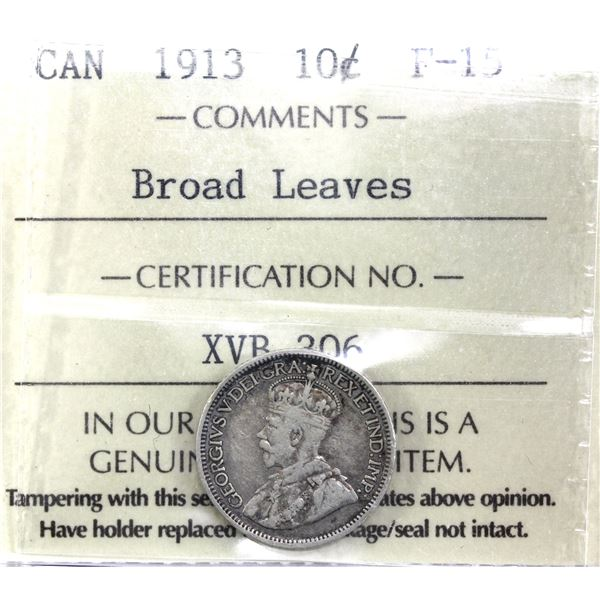 10-cent 1913 Broad Leaves ICCS Certified F-15. A nice problem free example with natural tones throug