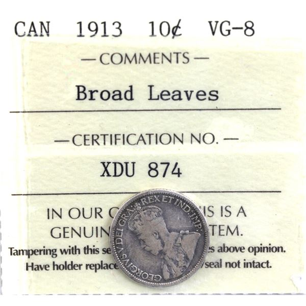 10-cent 1913 Broad Leaves ICCS Certified VG-8.