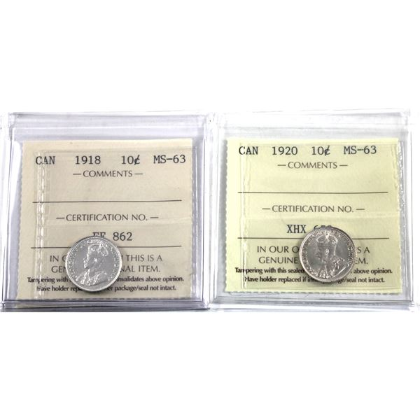 10-cent 1918 & 1920 ICCS Certified MS-63. 2pcs