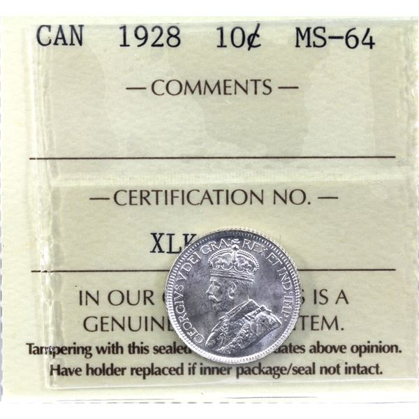 10-cent 1928 ICCS Certified MS-64.