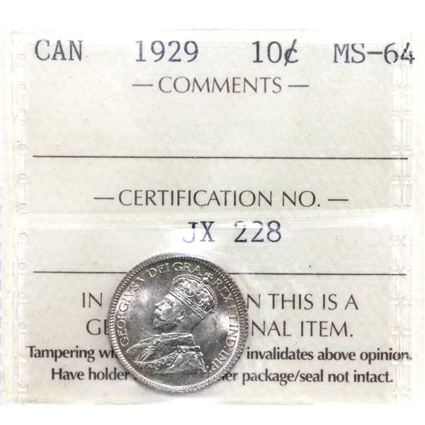 10-cent 1929 ICCS Certified MS-64.