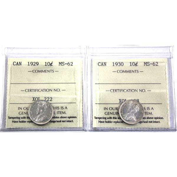 10-cent 1929 & 1930 ICCS Certified MS-62. 2pcs