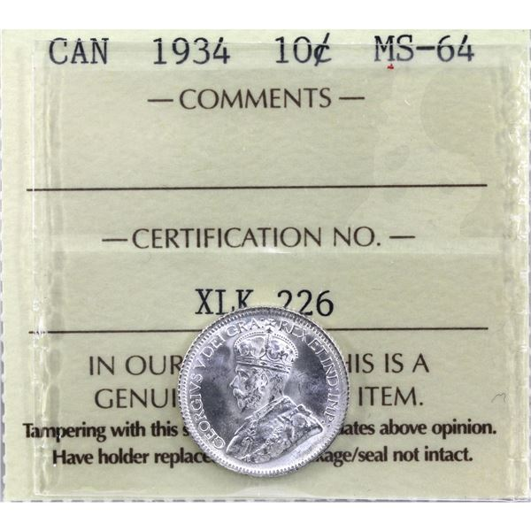 10-cent 1934 ICCS Certified MS-64. Full White Mint bloom with exceptional radiant luster!