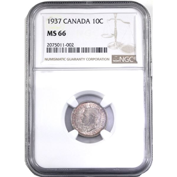 10-cent 1937 NGC Certified MS-66. A Lustrous coin with strong strike details. Coin has attractive li