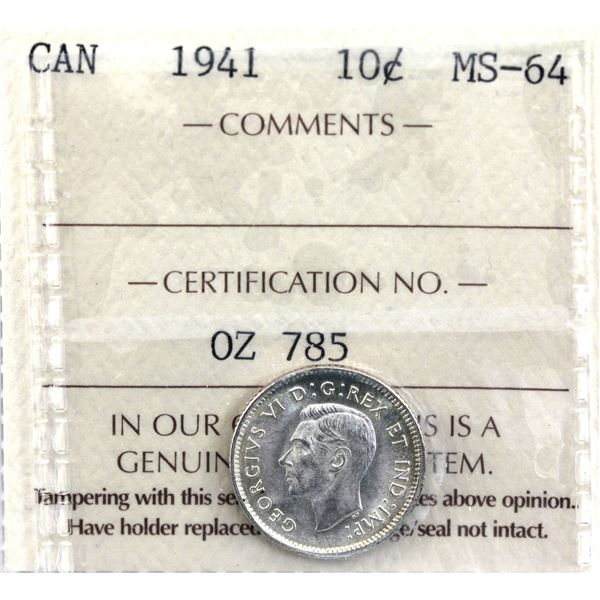 10-cent 1941 ICCS Certified MS-64. A beautiful frosty white coin with just subtle hints of golden to