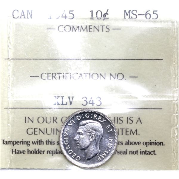 10-cent 1945 ICCS Certified MS-65.
