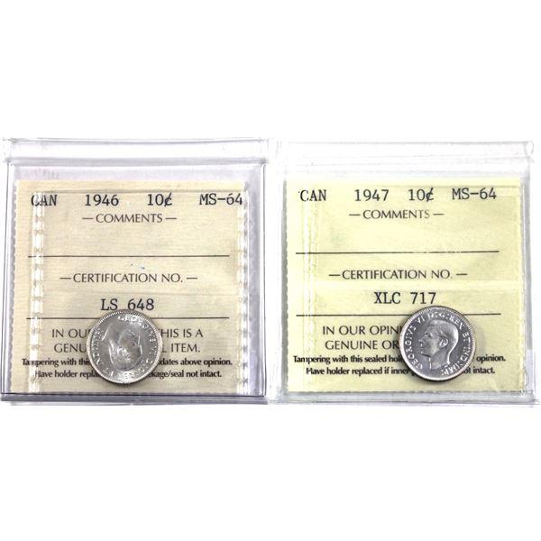 10-cent 1946 & 1947 ICCS Certified MS-64. 2pcs.