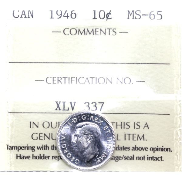 10-cent 1946 ICCS Certified MS-65.