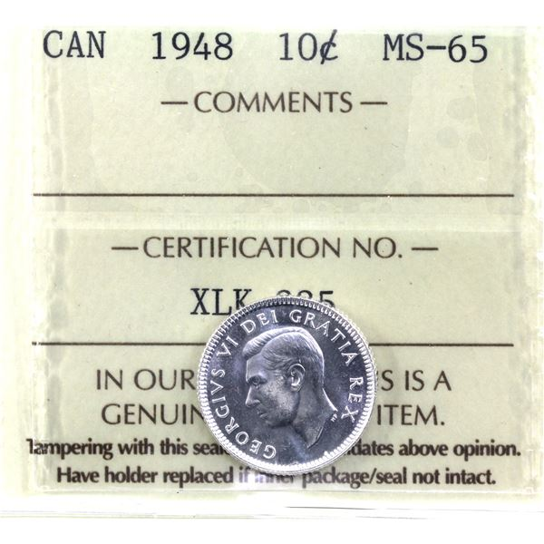 10-cent 1948 ICCS Certified MS-65. Low Mintage Year!