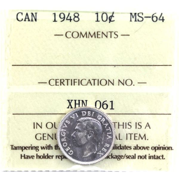 10-cent 1948 ICCS Certified MS-64. Low Mintage Year!