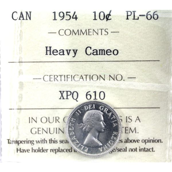 10-cent 1954 ICCS Certified PL-66 Heavy Cameo.