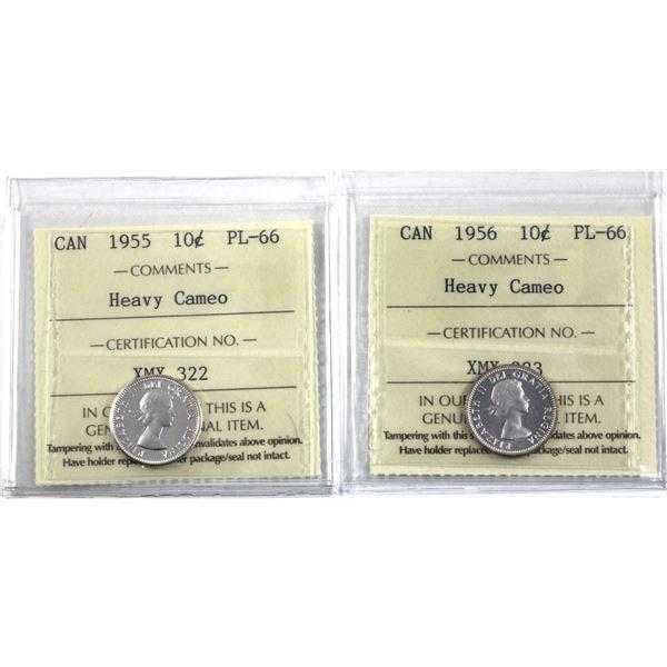 10-cent 1955 & 1956 ICCS Certified PL-66 Heavy Cameo. 2pcs