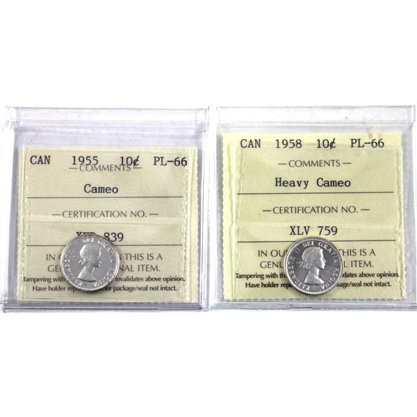 10-cent 1955 Cameo & 1958 Heavy Cameo ICCS Certified PL-66. 2pcs.