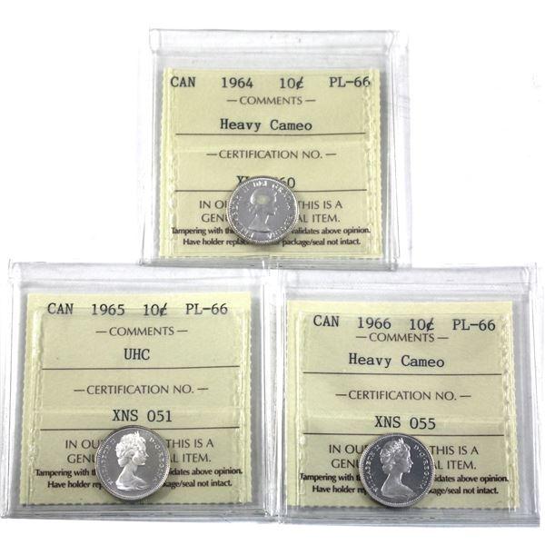 10-cent 1964 Heavy Cameo, 1965 Ultra Heavy Cameo & 1966 Heavy Cameo ICCS Certified PL-66. 3pcs