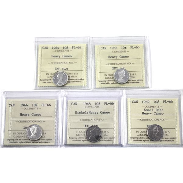 10-cent 1964, 1965, 1966, 1968 Nickel & 1969 Small Date ICCS Certified PL-66 Heavy Cameo. 5pcs