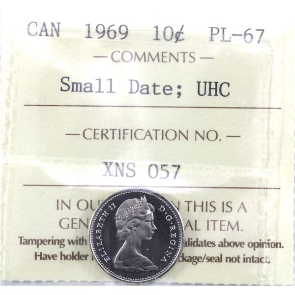 10-cent 1969 Small Date ICCS Certified PL-67 Ultra Heavy Cameo. TOP GRADE!