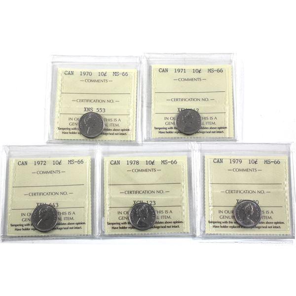 10-cent 1970, 1971, 1972, 1978 & 1979 ICCS Certified MS-66. 5pcs