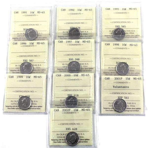 10-cent 1991, 1992, 1995-2000, 2001P Volunteers & 2002P ICCS Certified MS-65. 10pcs