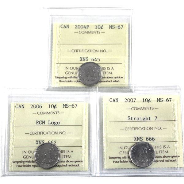 10-cent 2004P, 2006 RCM Logo & 2007 Straight 7 ICCS Certified MS-67. 3pcs
