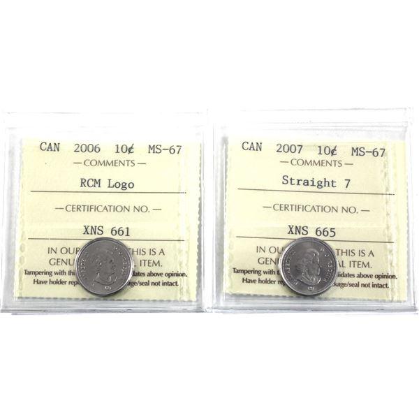 10-cent 2006 RCM Logo & 2007 Straight 7 ICCS Certified MS-67. 2pcs