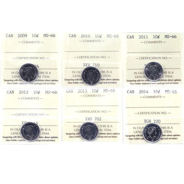 10-cent 2009-2014 ICCS Certified MS-66. 6pcs