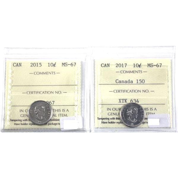 10-cent 2015 & 2017 Canada 150th ICCS Certified MS-67. Top Grades! 2pcs