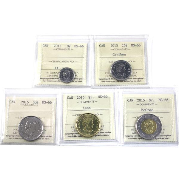 10-cent, 25-cent, 50-cent, Loon $1 & $2 John McCrae 2015 ICCS Certified MS-66. 5pcs