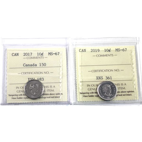 10-cent 2017 Canada 150 & 2019 ICCS Certified MS-67. 2pcs