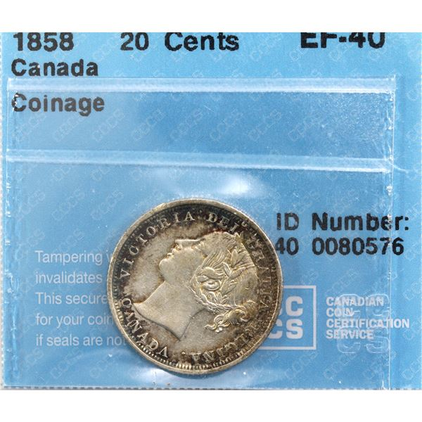 20-cent 1858 Coinage Alignment CCCS Certified EF-40.