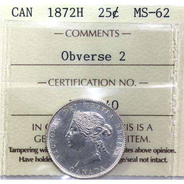 25-cent 1872H Obverse 2 ICCS Certified MS-62! Bold details on a bright lustrous coin.