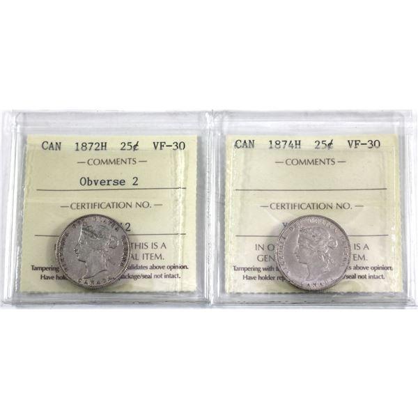 25-cent 1872H Obverse 2 & 1874H ICCS Certified VF-30. 2pcs