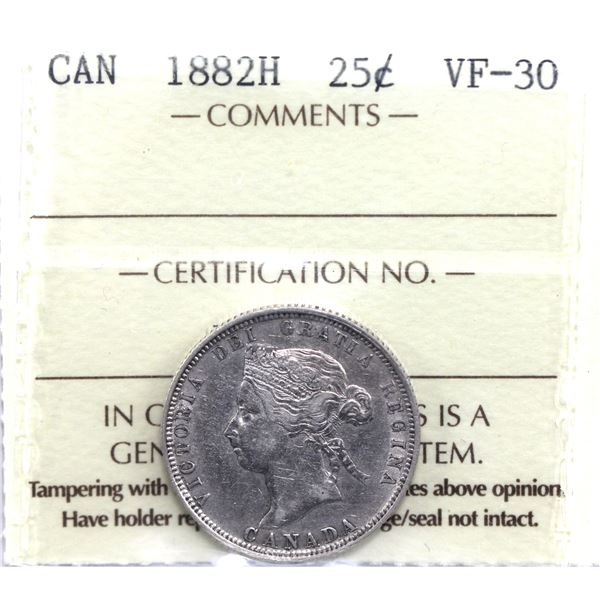 25-cent 1882H ICCS Certified VF-30.